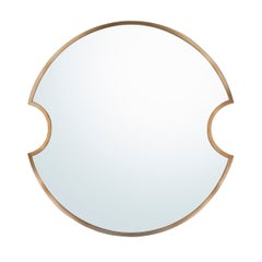 Planetaria Single Mirror, Oxydised Brush Brass and Mirrored Glass by Lara Bohinc