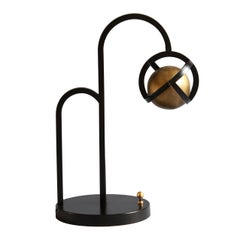 Planetaria Table Lamp, Black Frame and Brass Sphere by Lara Bohinc, In Stock