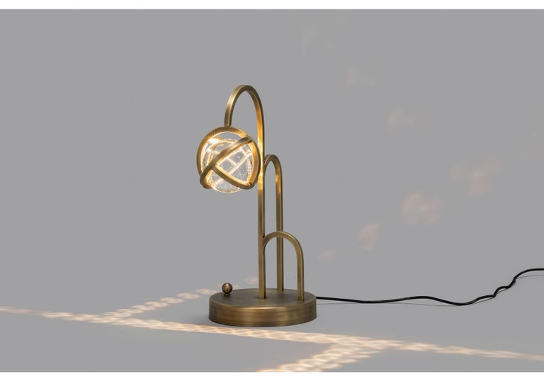 Modern Planetaria Table Lamp, Dark Brass Frame and Glass Sphere by Lara Bohinc For Sale