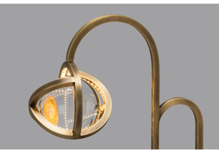 Metalwork Planetaria Table Lamp, Dark Brass Frame and Glass Sphere by Lara Bohinc For Sale