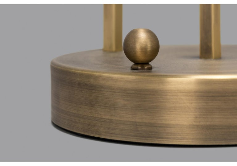 Contemporary Planetaria Table Lamp, Dark Brass Frame and Glass Sphere by Lara Bohinc For Sale