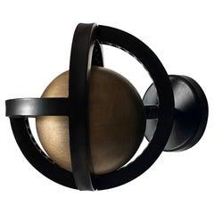 Planetaria Wall Light, Black Steel Frame with Dark Brass Sphere by Lara Bohinc