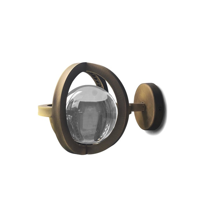 Portuguese Planetaria Wall Light, Dark Brass Frame and Glass Sphere by Lara Bohinc For Sale