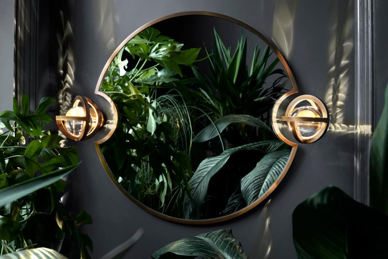 Metalwork Planetaria Wall Light, Dark Brass Frame and Glass Sphere by Lara Bohinc For Sale