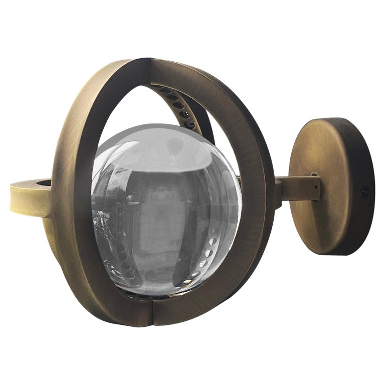 Planetaria Wall Light, Dark Brass Frame and Glass Sphere by Lara Bohinc For Sale