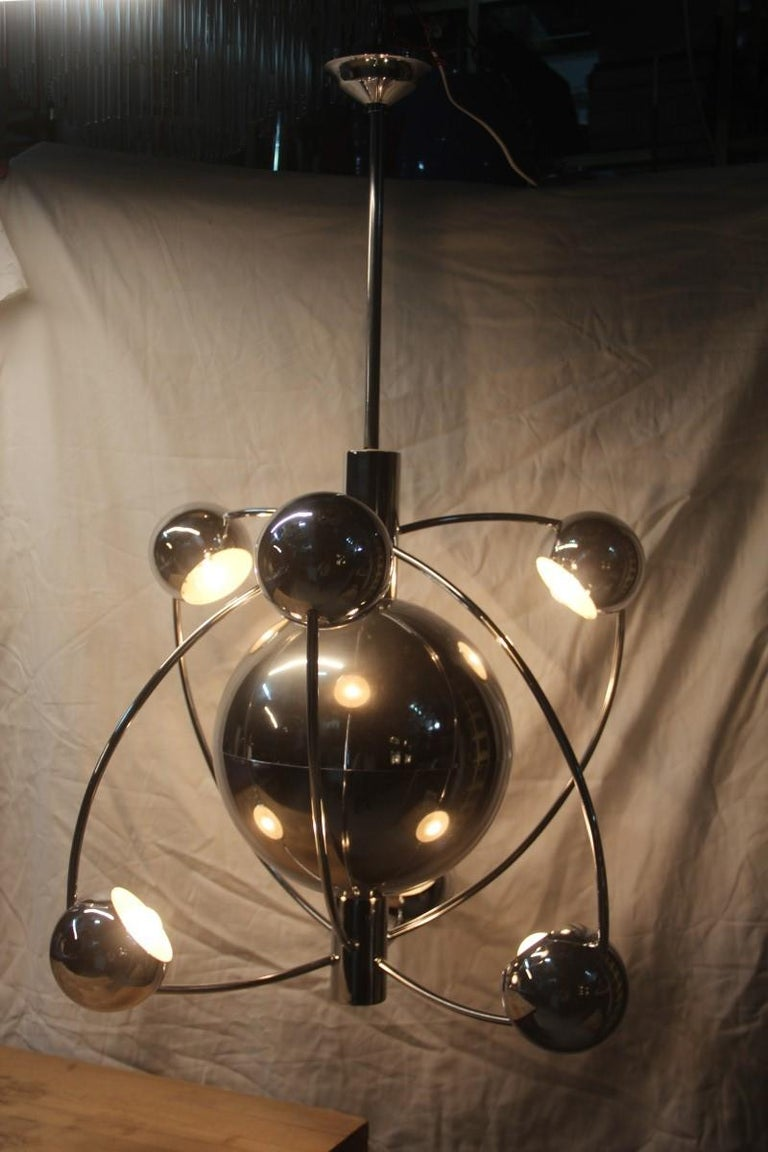 Planetary Universe Sun Chandelier Chromed Italian Design 1970 Planets Reggiani For Sale 6
