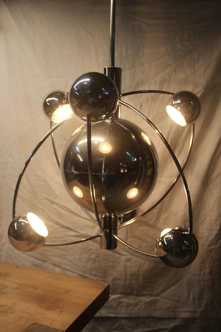 Planetary Universe Sun Chandelier Chromed Italian Design 1970 Planets Reggiani For Sale 7