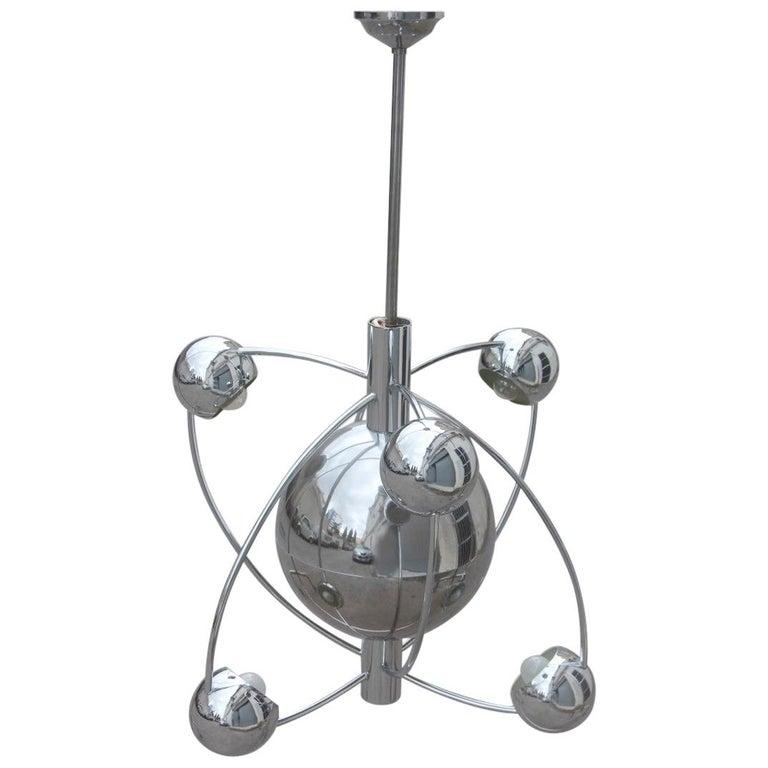 Planetary Universe Sun Chandelier Chromed Italian Design 1970 Planets Reggiani For Sale