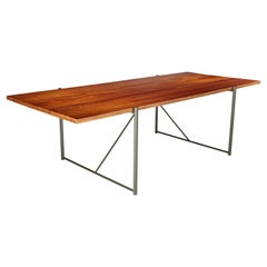 Plank Dining Table Stainless Steel Base Teak Wood Solid Plank Top