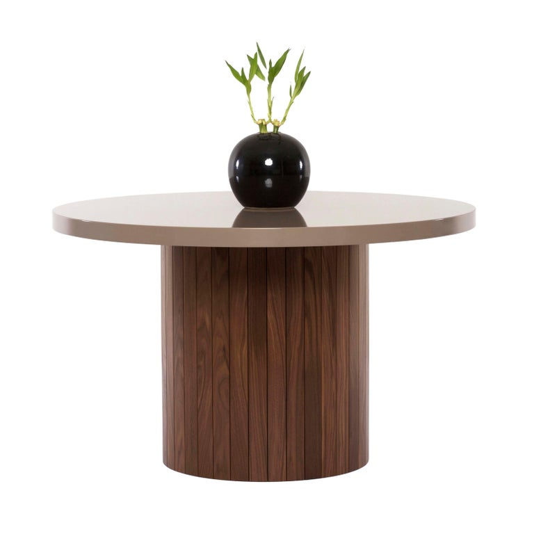 Other Plank Table Rounded Lacquer Top Wood Base walnut custom made to order breakfast For Sale