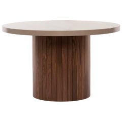 Plank Table Rounded Lacquer Top Wood Base walnut custom made to order breakfast
