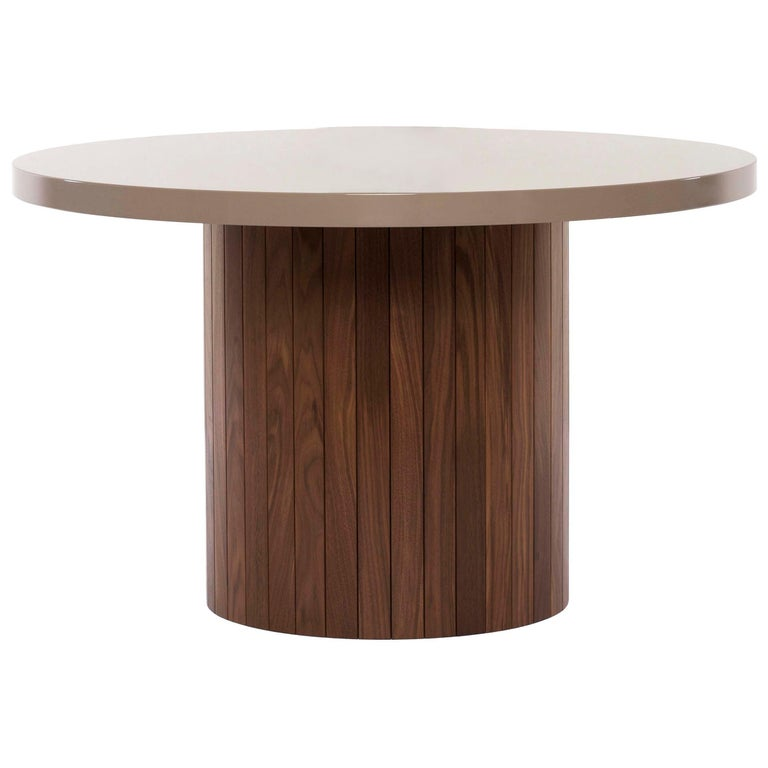 Plank Table Rounded Lacquer Top Wood Base walnut custom made to order breakfast For Sale