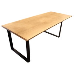Plank Table of Oak and Black Metal Frame, Made of Two Planks with Natural Edges