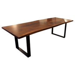 Plank Table of Walnut and Black Metal Frame, of Two Planks with Natural Edges