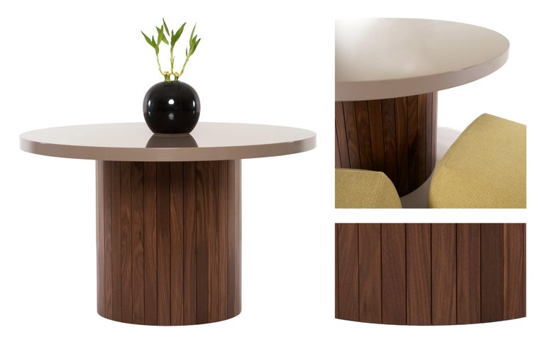 American Plank Table Rounded Lacquer Top Wood Base walnut custom made to order breakfast For Sale