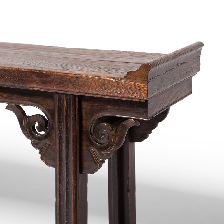 Plank Top Console Table with Everted Ends In Good Condition For Sale In Chicago, IL