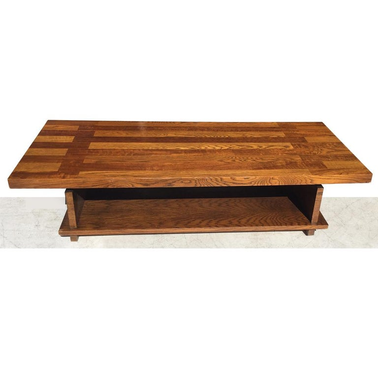 Mid-Century Modern Plank Trestle Coffee Table by Lane For Sale