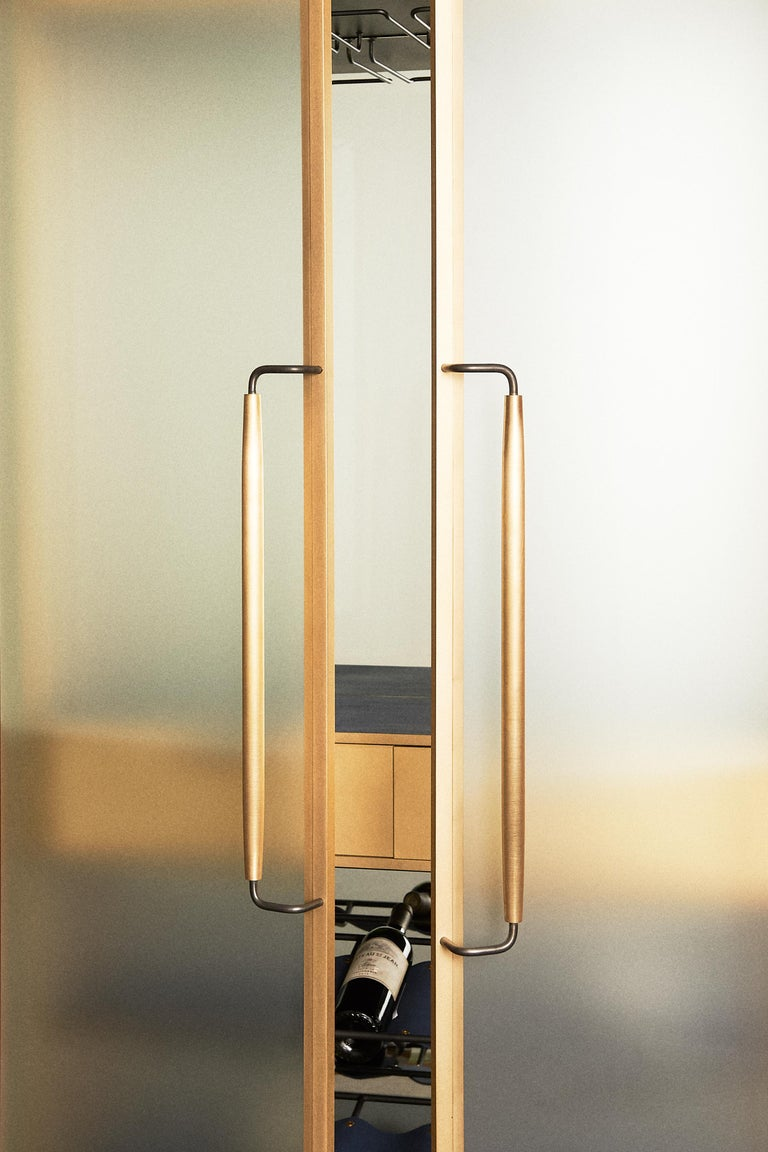 Modern Plano Bar Cabinet in Bronze, Curved Glass Doors, Waxed Leather Bottle Slings For Sale