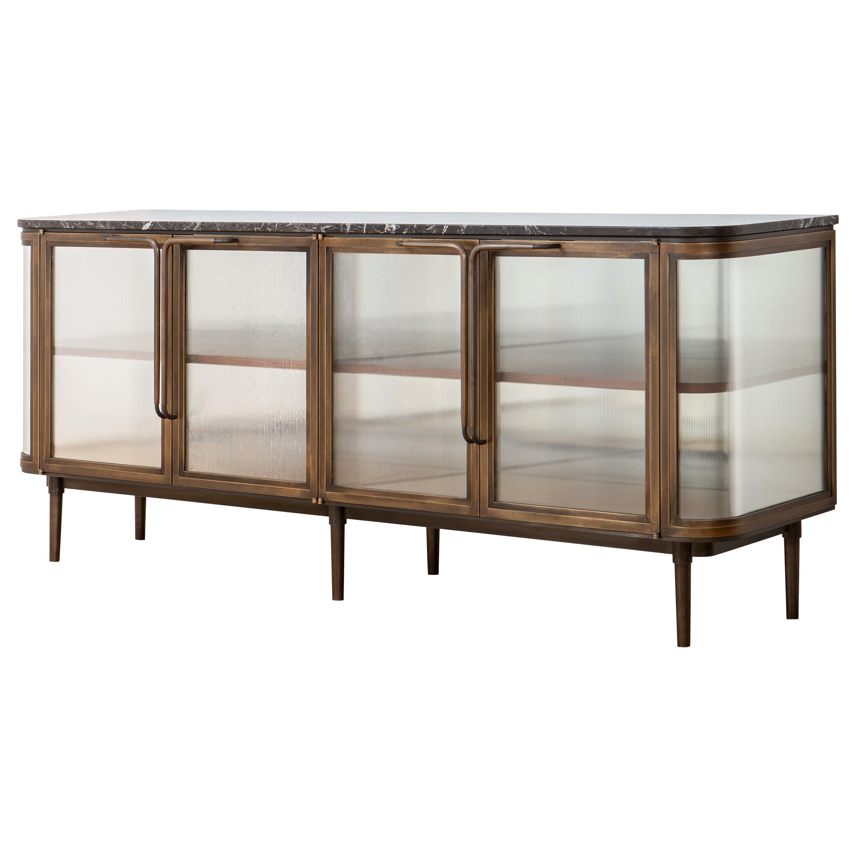 Plano Credenza in Bronze, Curved Glass Doors, Marble Top, Black Walnut Shelves