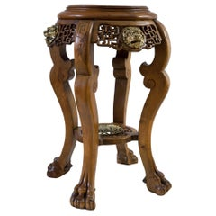 Plant Stand Side Table Lion Claw Bronzes Dragon Chinoiserie Baroque Mahogany