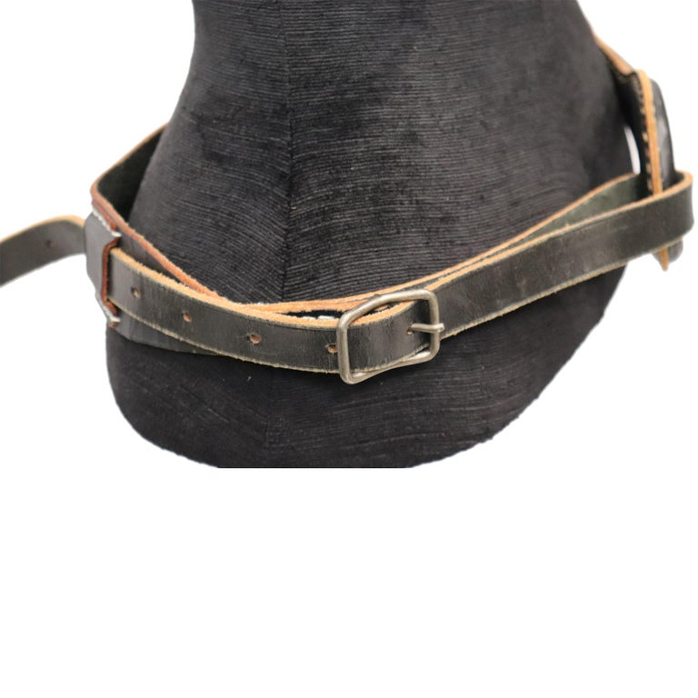 Women's Plantation Black Leather Double Band W/ Loop and Front Buckle For Sale