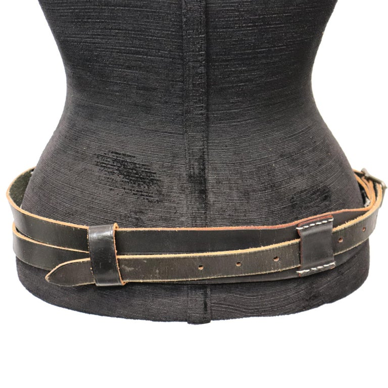 Plantation Black Leather Double Band W/ Loop and Front Buckle For Sale 2