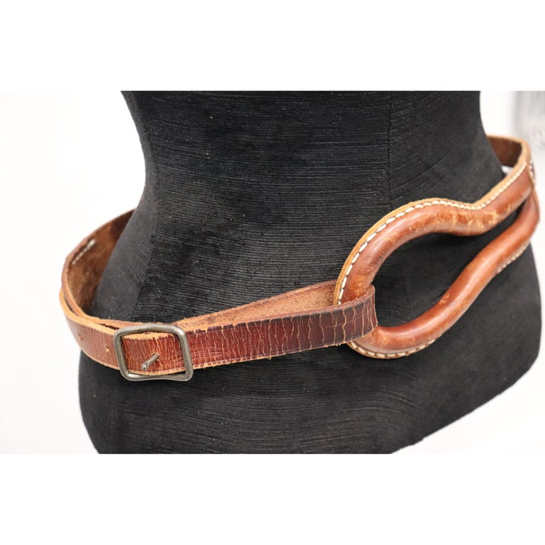 Brown Plantation brown leather double band W/ Loop and Front Buckle For Sale