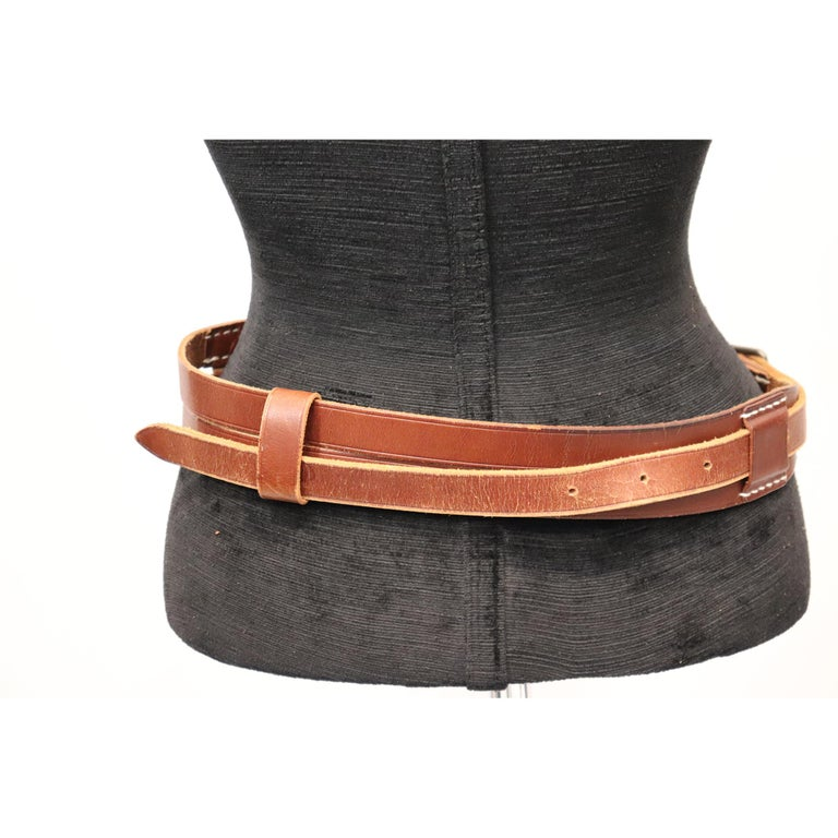 Women's Plantation brown leather double band W/ Loop and Front Buckle For Sale