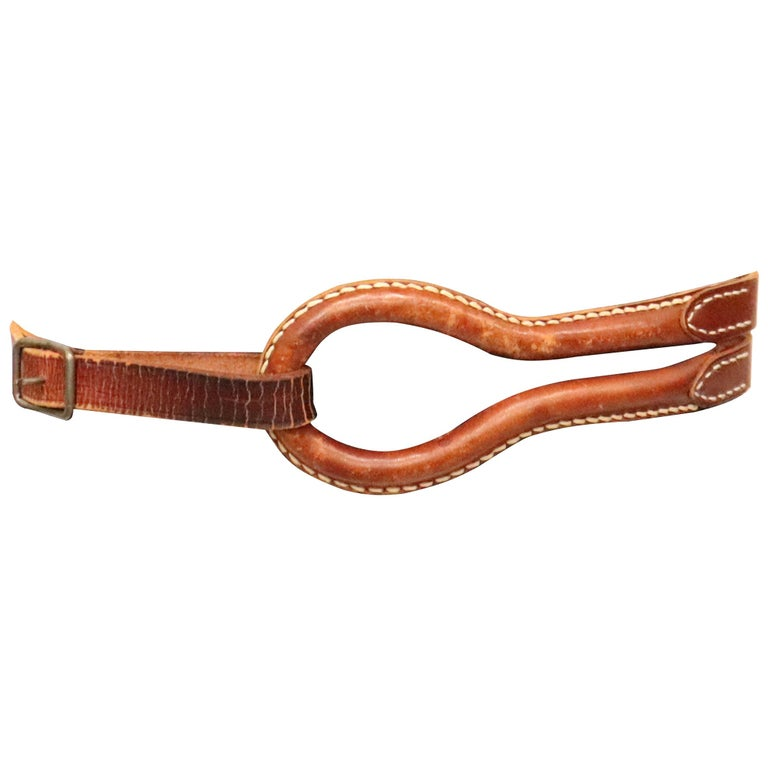 Plantation brown leather double band W/ Loop and Front Buckle For Sale