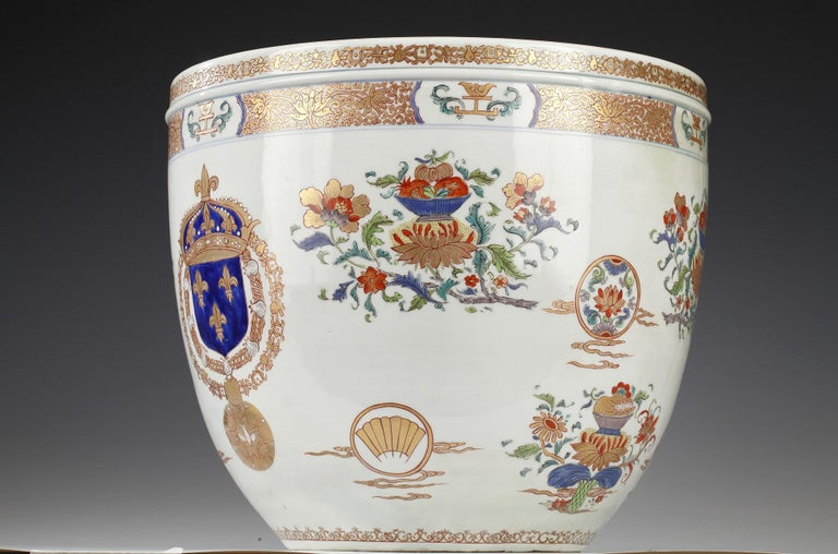 Planter and Decorative Dish Attributed to Samson & Cie In Good Condition For Sale In PARIS, FR
