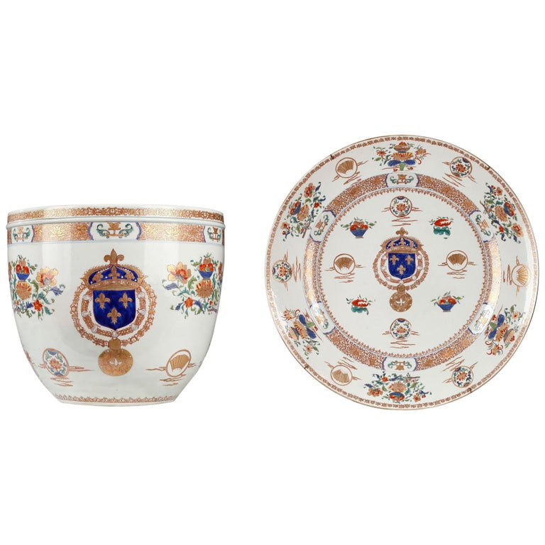 Planter and Decorative Dish Attributed to Samson & Cie For Sale