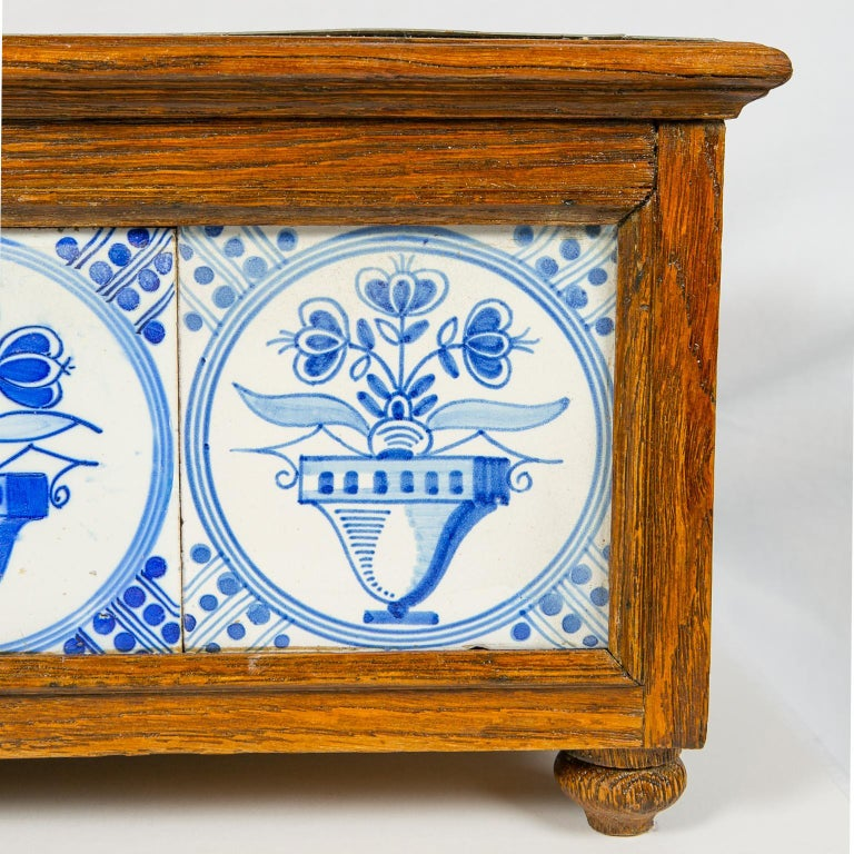 Dutch Planter Decorated with Antique Tiles Delft Blue and White 18th Century For Sale