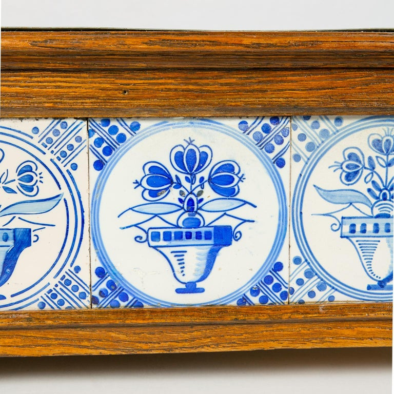 Hand-Painted Planter Decorated with Antique Tiles Delft Blue and White 18th Century For Sale