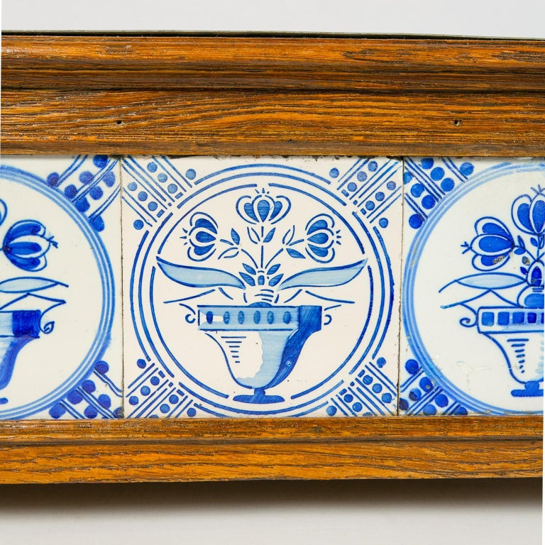Planter Decorated with Antique Tiles Delft Blue and White 18th Century In Good Condition For Sale In New York, NY