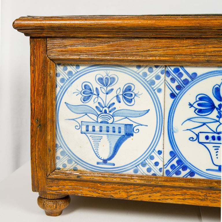 18th Century and Earlier Planter Decorated with Antique Tiles Delft Blue and White 18th Century For Sale