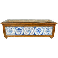 Planter Decorated with Antique Delft Blue and White Tiles