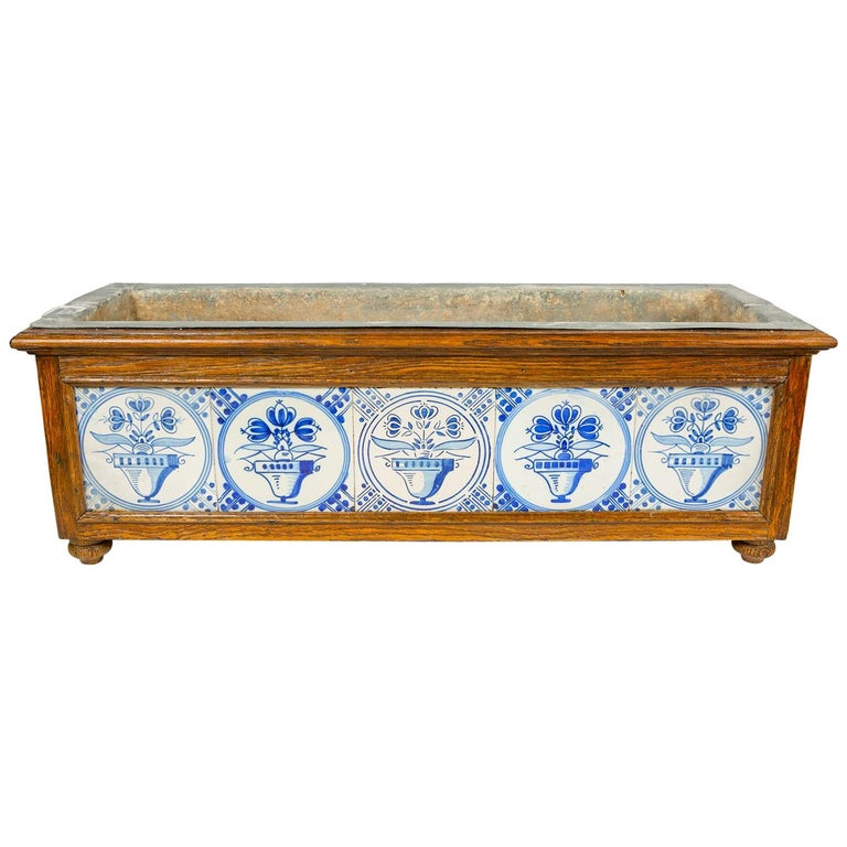 Planter Decorated with Antique Tiles Delft Blue and White 18th Century For Sale