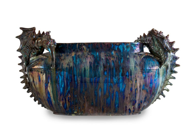 Art Nouveau Planter with Fantastic Creatures Attributed to the Pierrefonds Manufacture For Sale