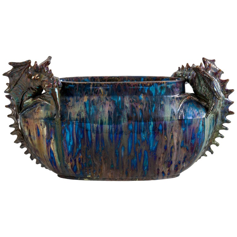 Planter with Fantastic Creatures Attributed to the Pierrefonds Manufacture For Sale