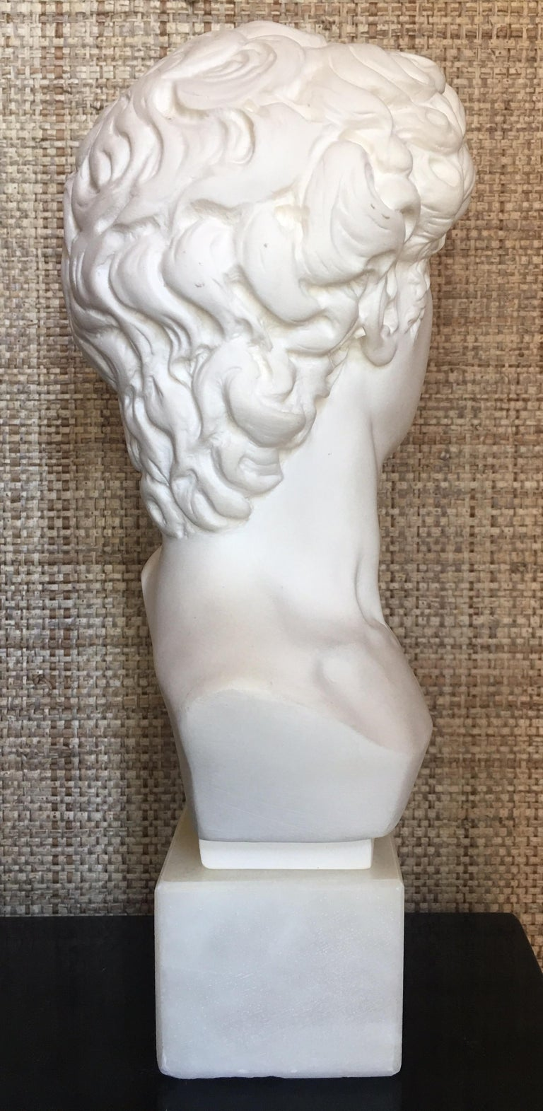 Hollywood Regency Plaster and Alabaster Marble Bust Sculpture by Giuseppe Bessi, Italy For Sale