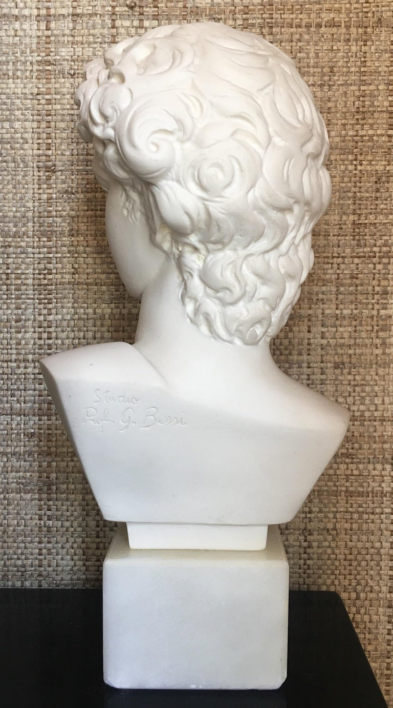 Italian Plaster and Alabaster Marble Bust Sculpture by Giuseppe Bessi, Italy For Sale