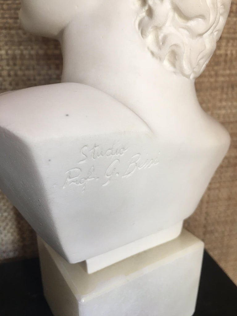 Plaster and Alabaster Marble Bust Sculpture by Giuseppe Bessi, Italy In Good Condition For Sale In Lambertville, NJ