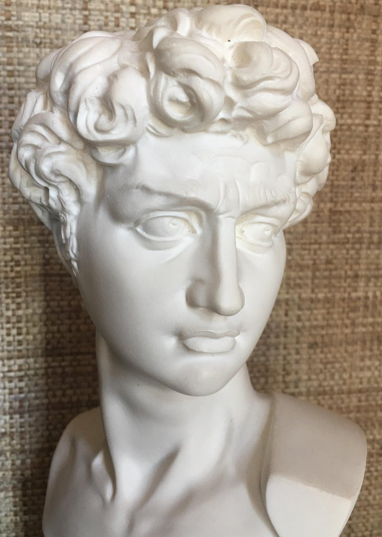 20th Century Plaster and Alabaster Marble Bust Sculpture by Giuseppe Bessi, Italy For Sale