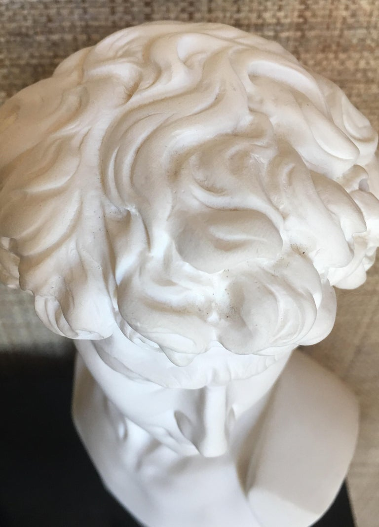 Plaster and Alabaster Marble Bust Sculpture by Giuseppe Bessi, Italy For Sale 1