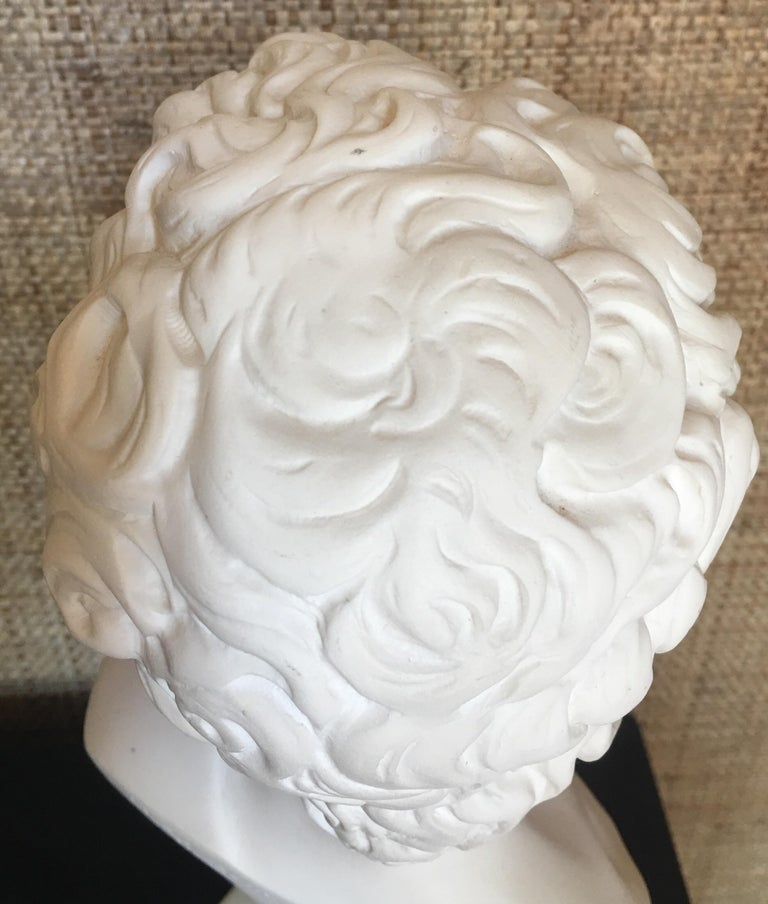 Plaster and Alabaster Marble Bust Sculpture by Giuseppe Bessi, Italy For Sale 2