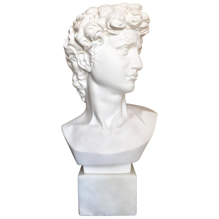 Plaster and Alabaster Marble Bust Sculpture by Giuseppe Bessi, Italy For Sale