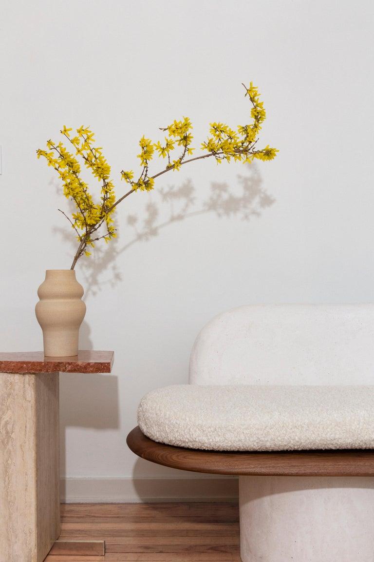 Modern Plaster and Black Walnut Pillar Sofa with Bouclé Upholstery by Jackrabbit Studio For Sale