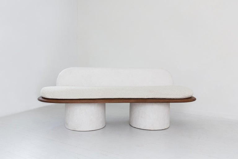 American Plaster and Black Walnut Pillar Sofa with Bouclé Upholstery by Jackrabbit Studio For Sale