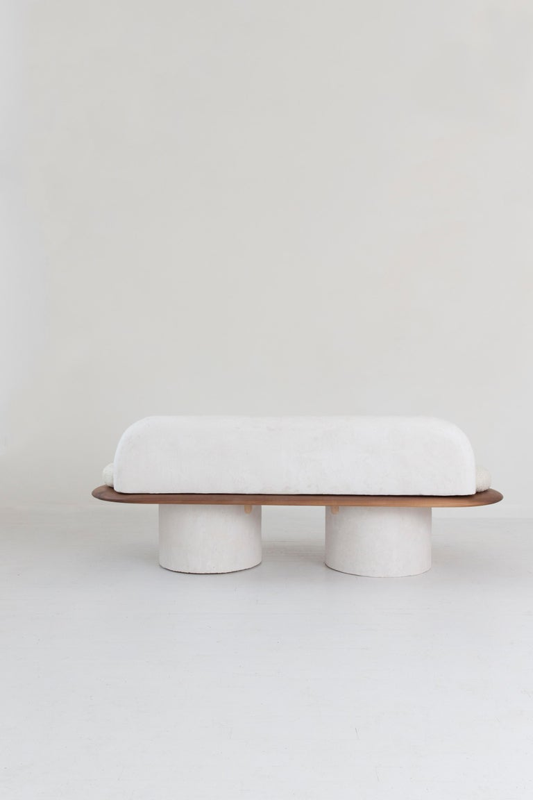 Plaster and Black Walnut Pillar Sofa with Bouclé Upholstery by Jackrabbit Studio In New Condition For Sale In Brooklyn, NY