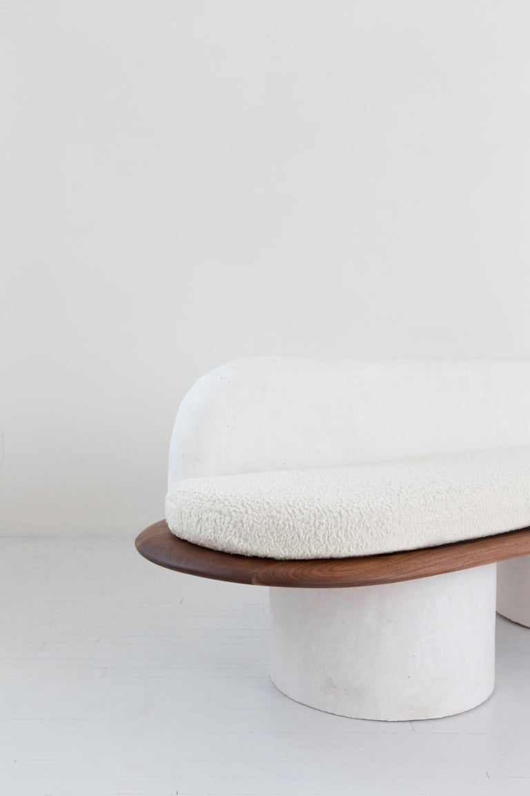 Contemporary Plaster and Black Walnut Pillar Sofa with Bouclé Upholstery by Jackrabbit Studio For Sale